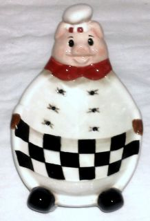 Fat Pig Baker Chef Country Kitchen Italian Bistro Spoon Rest Candy