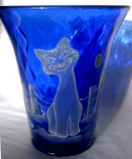 Fenton Cobalt Blue Flip VASE   Alley cat   Mary Gregory Motif #16/21