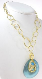 New Alexis Bittar Gold Tone Turquoise Jasper Necklace