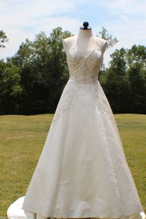 ALLURE WEDDING GOWN CANDLELIGHT SATIN WITH CRYSTAL BEADING HALTER SIZE