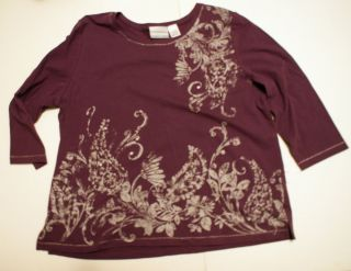 Alfred Dunner womens shirt Plus Size 2X Purple w/ Silver Paisley Print