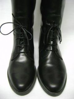 Marc Alpert Black Leather Knee High Riding Boots