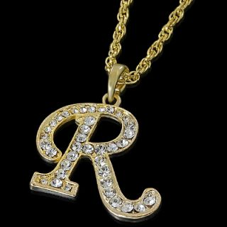 ALPHABET INITIAL LETTER R GOLD PLATED CLEAR CRYSTAL PENDANT CHARM