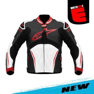 New Alpinestars Atem Leather Race Riding Jacket Black White Red US 46