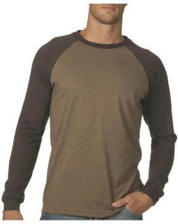 Canvas Cotton Long Sleeve Raglan Baseball T Shirt New