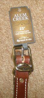 Alum Creek 1 x 23 Brown Leather Spike Dog Collar New