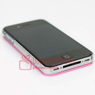 Aluminum Metal Skin with Plastic Hard Case Cover for Apple iPhone 4 4G