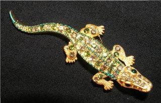BROOCH/PIN Rhinestones & Enamel Bright FL Gator GREEN ALLIGATOR