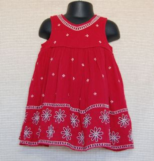 Baby Gap Capetown Red Floral Gauze Dress Size 18 24 Months Girl Summer