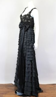 37 471 TONY WARD at SOCIALITE AUCTIONS sz38 Black Evening Gown