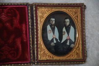 Antique Photograph Daguerreotype Ambrotype Masonic Masons 2 Men in
