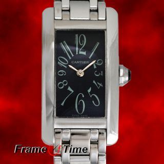 Cartier Ladies Tank Americaine 18K Solid White Gold Gray Arabic Watch