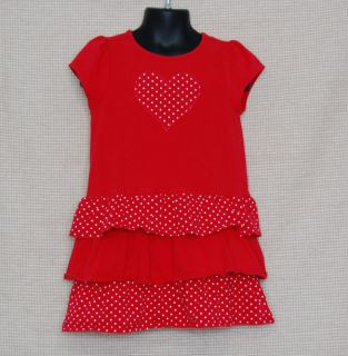 Gymboree Valentines Day Red Heart Ruffle Dress Size 3T Toddler Girl