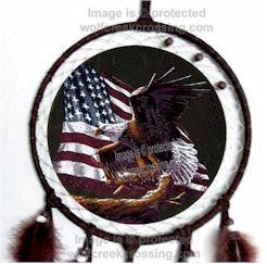 AMERICAN EAGLE USA FLAG DREAM CATCHER / MANDELLA ART   WINDOW OR WALL