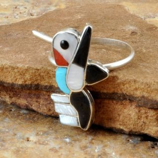 Zuni Native American Hummingbird Ring Size 6 3/4 SKU#218915