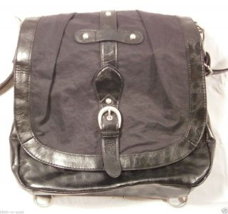 American Rag Black Leather Messenger Bag Nickel Hardware