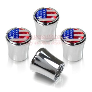 American Flag Chrome 4 Tire Stem Valve Caps, USA Flag + Free Gift