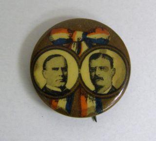 William McKinley Theodore Roosevelt Jugate Political Campaign Button