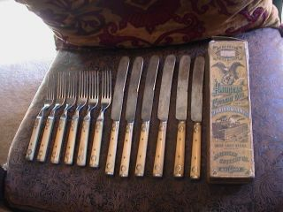 ANTIQUE 1865 AMERICAN CUTLERY FLATWARE FORKS KNIFES BONE HANDLES BOX