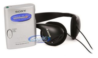 Sony SRF 59SILVER SRF59 Am FM Walkman Radio w on Ear Stereo Headphones