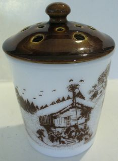 VINTAGE AMWAY WHITE MILK GLASS JAR W POTTERY LID WINTER SCENE