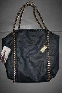 Amrita Singh 'MIA' Black Gold Chain Embellished Tote Handbag Brand