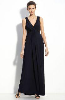 New Amsale Empire Waist Jersey Dress Gown Size 18 $300 Navy