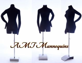 AMT Mannequin Torso Dress Form Female with Arms Black Fabric