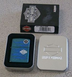 Brand New Zippo Harley Davidson 20711 Blue Ghost Flames Lighter