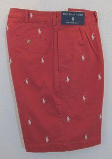 Men Polo Ralph Lauren Pony Logo Pleated Tyler Brick Red Golf Shorts 34