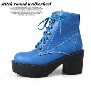 New Womens Casual Lace Up Ankle Hill Boots Blue