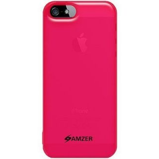 Apple iPhone 5 Pink Soft Gel TPU Case Amzer Gloss Skin Fit Cover