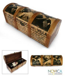 Pancho Villa Mexican Art Bottle Holder Box Wine Gift
