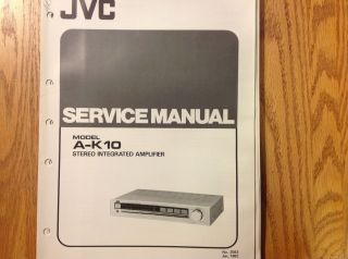 Service Manual for JVC Stereo Integrated Amplifier A K10