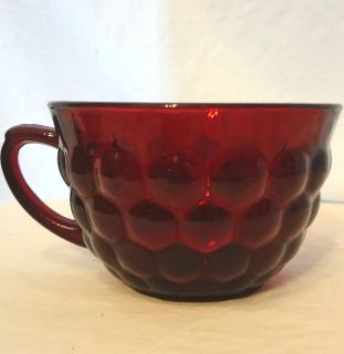 Vintage Depression Anchor Hocking Royal Ruby Red Bubble Glass