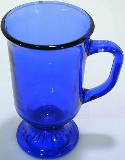 Anchor Hocking Glassware Cobalt Blue Glass Handled Lemonade Goblet
