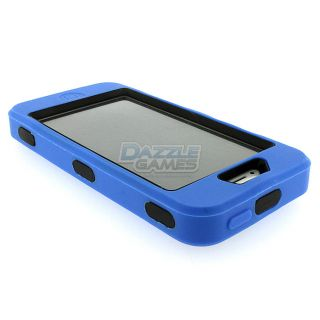 For iPhone 5 Combo Hard Hybrid Case Snap on Cover Blue Black Silicone