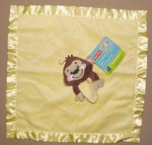 Fisher Price Yellow Monkey Security Blanket Lovey Brown Precious