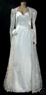andre van pier white satin and lace wedding dress size 12 new with