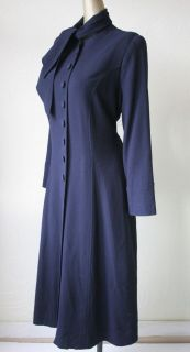 VTG 30s 40s NAVY BLUE RAYON PRINCESS SEAMED COAT W/ NECK SASH*PRISTINE
