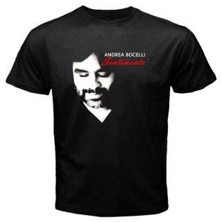 New Andrea Bocelli Sentimento Mens Black T Shirt Size s M L XL