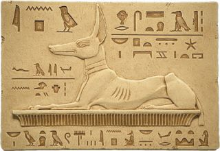 Egyptian Reclining Anubis Wall Plaque Relief Stone Art