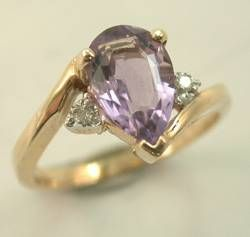 estate 10kt yellow gold amethyst diamond ring metal ring size stone