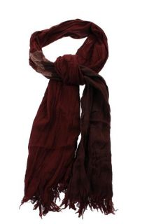 Amicale New Red Merino Wool Crinkled Fringe Trim Rectangle Scarf One