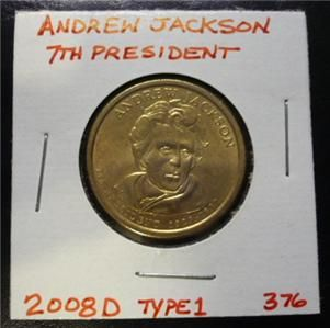 Andrew Jackson 2008D Gold Dollar Type 1 Clad Coin 7th President Denver