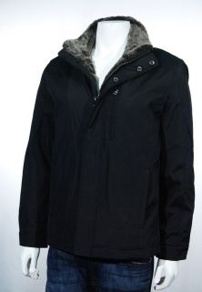 Andrew Marc New York Mens Black Faux Fur Trim Coat Jacket Size Large