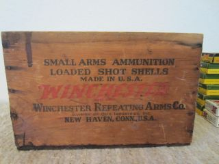 Winchester Small Arms Ammo Wooden Crate with Empty Ammo Boxes