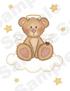 12 Angel Teddy Bear Baby Girl Nursery Wall Art Stickers Decals Clouds