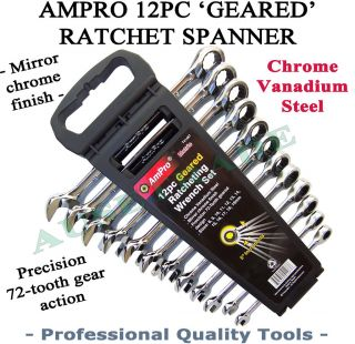 12PC AMPRO RATCHET SPANNER CRV PROFESSIONAL QUALITY TOOLS WRENCH 8
