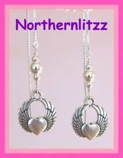 Angel Wings Heart 925 Sterling Silver Ear Threads Threader Earrings